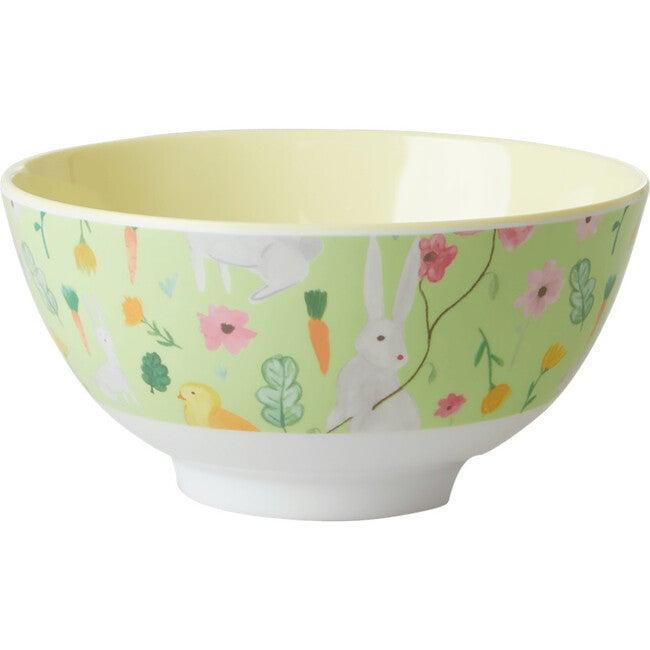 Medium Melamine Bowl, Green Bunny