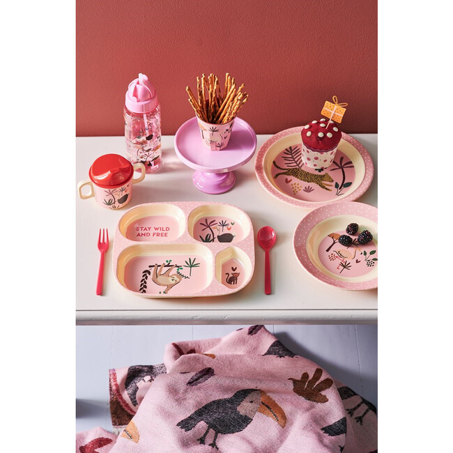 Melamine Kids Bowl, Pink Jungle Animal