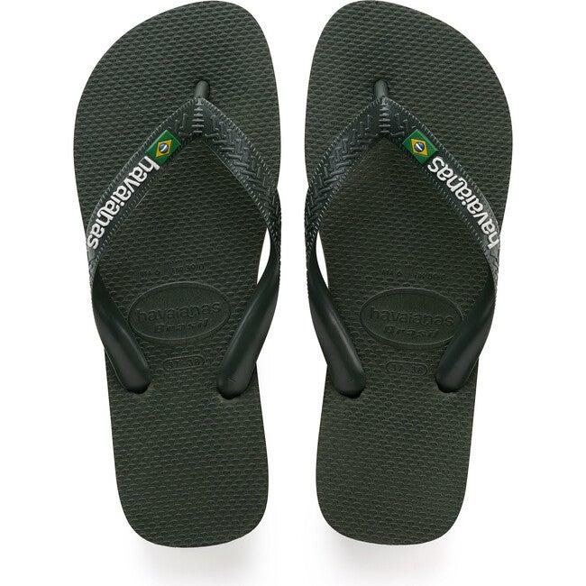 Mens Brazil Logo, Olive Green - Sandals - 1