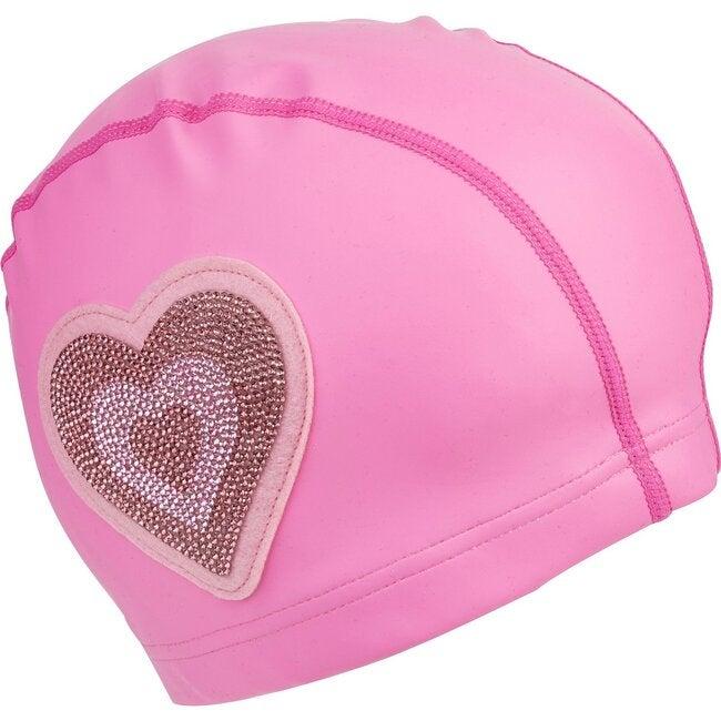 Neon Pink Heart Swim Cap, Pink