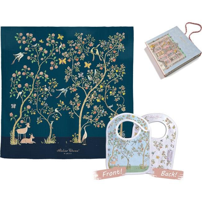 Swaddle & Bib Gift Set, Bloom Midnight
