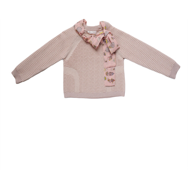 Knitted Sweater With Sash, Light Pink