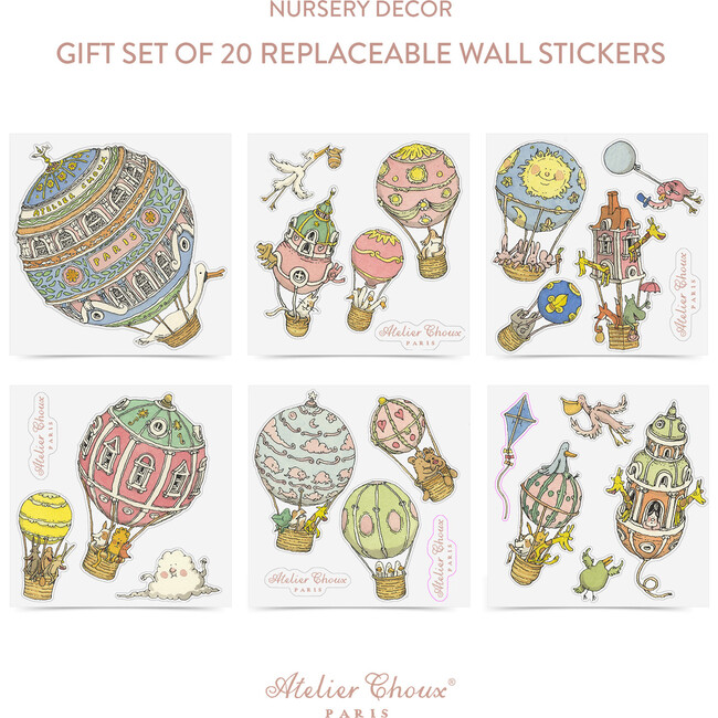 Set of 20 Replaceable Wall Stickers, Hot Air Balloons