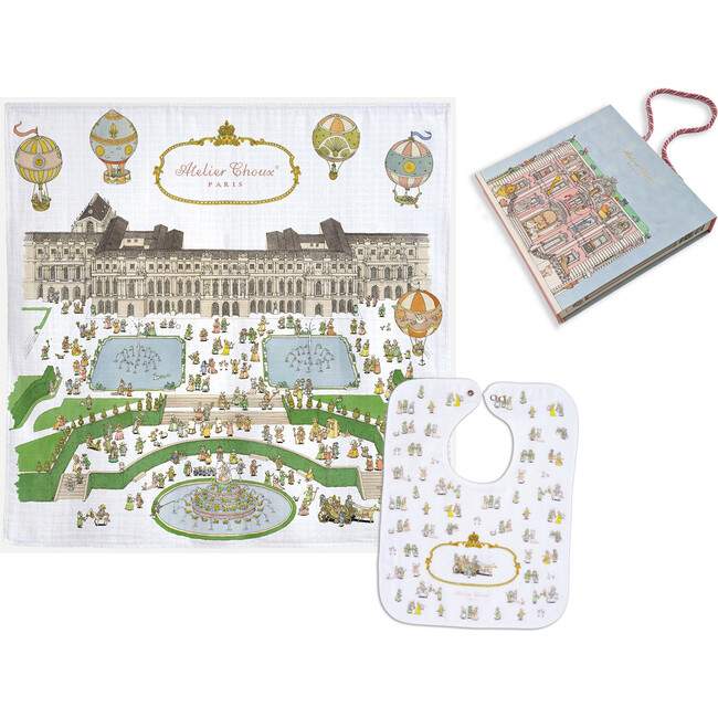 Swaddle & Bib Gift Set, Versailles