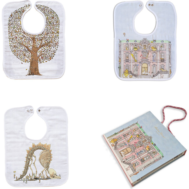Toddler Bib Trio Set, Friends & Family Tree +  Monceau Mansion + Naptime at the Museum - Bibs - 1