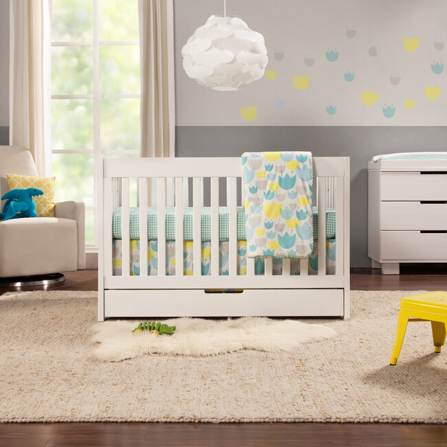Mercer 3-in-1 Convertible Crib with Toddler Bed Conversion Kit, White