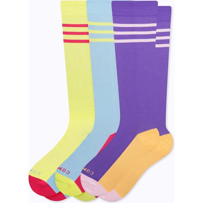 Knee-High Compression Socks – 3-Pack Varsity, Mixed