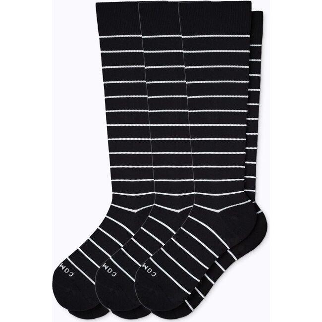 Knee-High Compression Socks – 3-Pack Stripes, Black/White