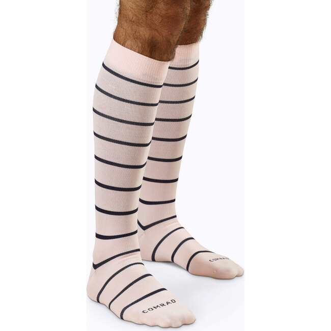 Knee-High Compression Socks – 3-Pack Stripes, Rose/Navy