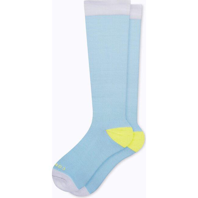 Knee-High Compression Socks, Sky Blue/Pear Colorblock