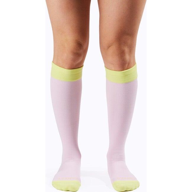 Knee-High Compression Socks, Bubblegum/Pear Colorblock
