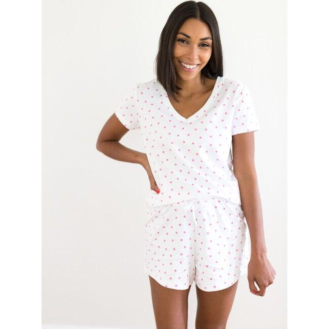 Mini Pink Stars Women's Pima Pajama Set