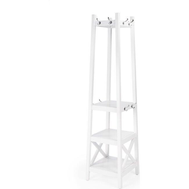 Fenya Coat Rack with Shelves, White