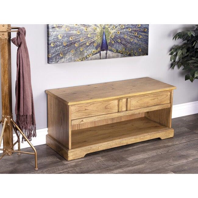 Efrem Wood Storage Bench, Natural