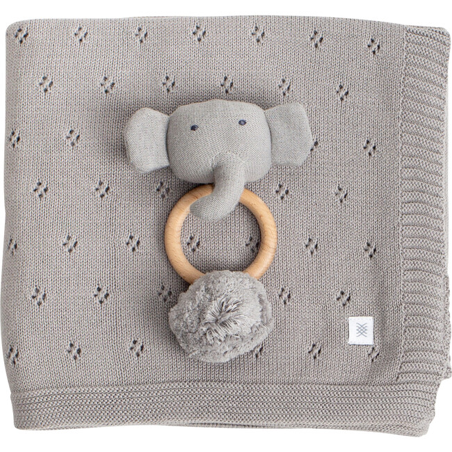 Organic Cotton Clover Knit Baby Gift Set, Gray
