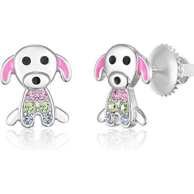 Puppy Enamel Screwback Earrings