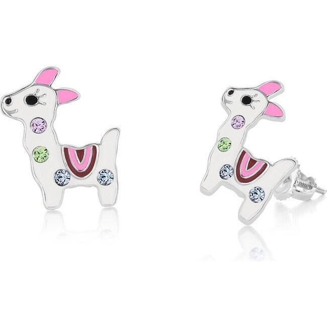 Llama Enamel Screwback Earrings