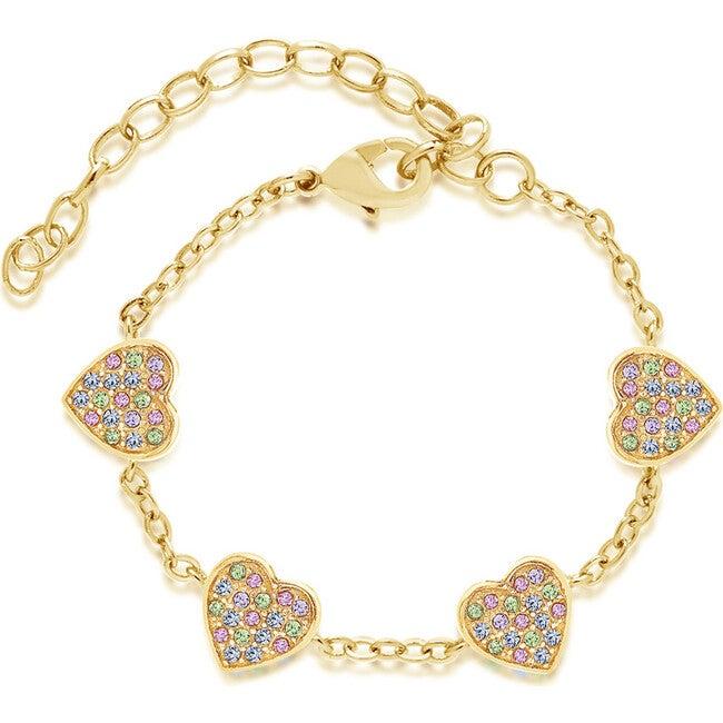 Heart yellow gold bracelet, Multi