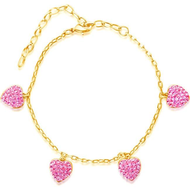 Heart Yellow Gold Bracelet, Pink