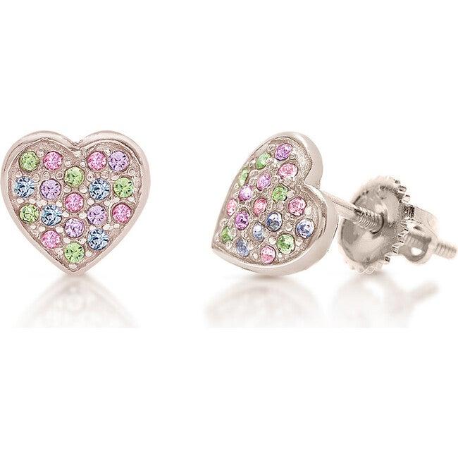 Heart Screwback Earrings, Multi