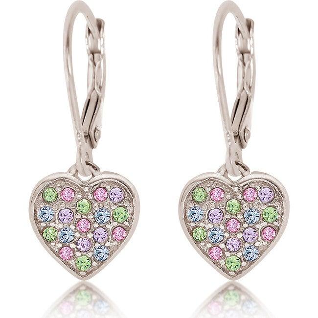 Heart Leverback Earrings, Multi