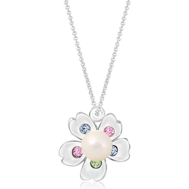 Flower with Pearl Pendant Necklace