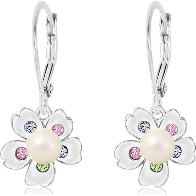 Flower with Pearl Screwback Earrings