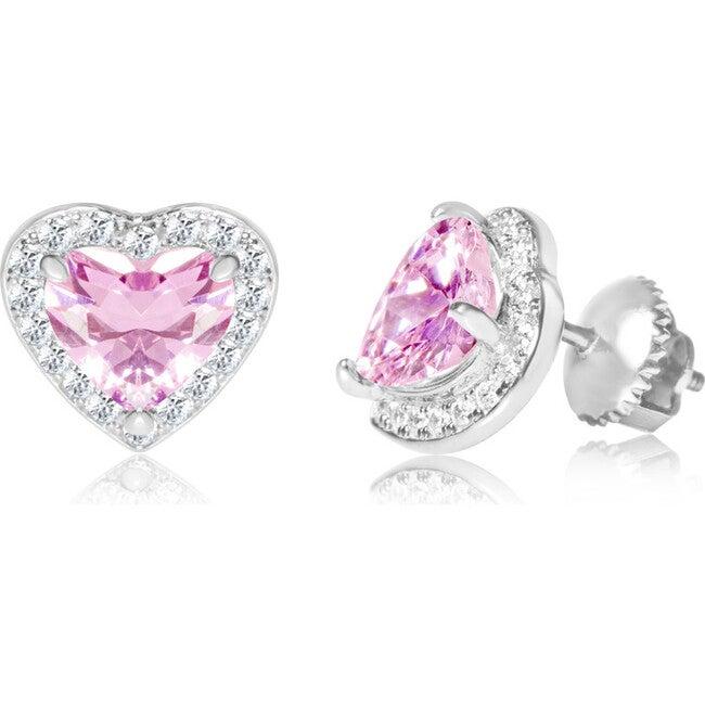 Cubic Zirconia Heart Screwback Earrings, Pink