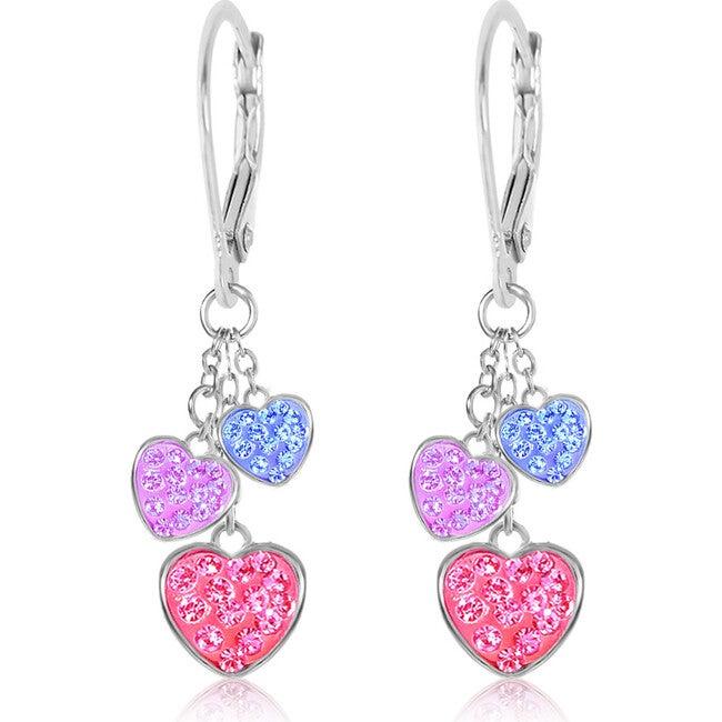 3 Heart Leverback Earrings, Multi