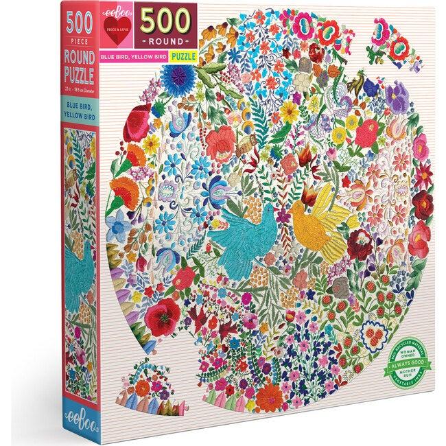 Blue Bird Yellow Bird 500-Piece Round Puzzle