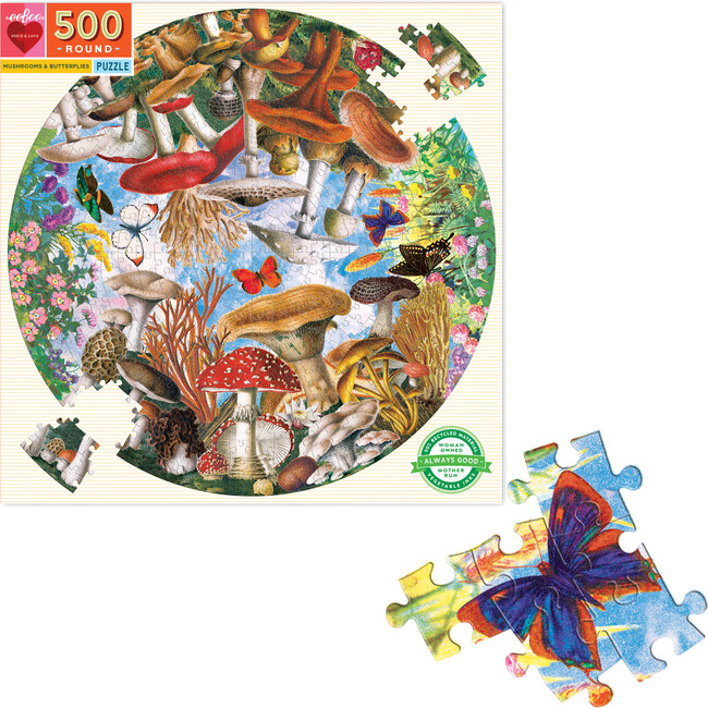 Mushrooms and Butterflies 500-Piece Round Puzzle