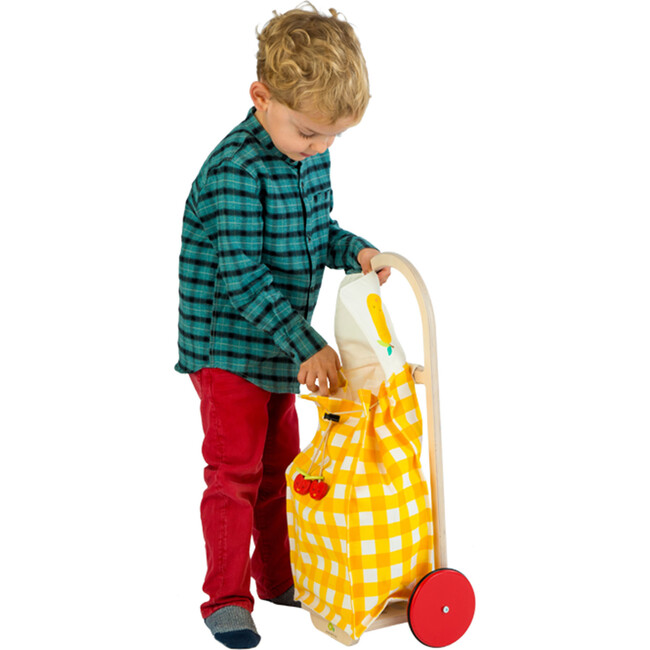 Pull Along Shopping Trolley, Yellow