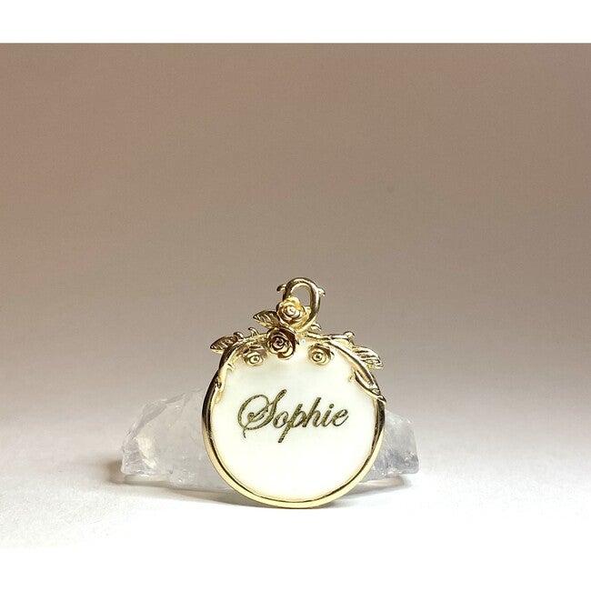 Magnolia 18k Gold Filled Pet ID Tag, Ivory