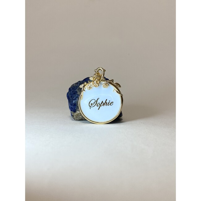 Magnolia 18k Gold Filled Pet ID Tag, Blue