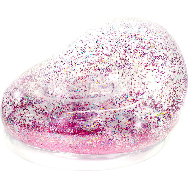 Inflatable Glitter Chair, Pink Holographic Glitter
