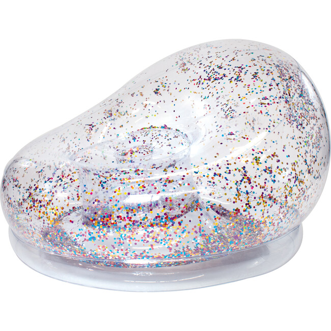 Inflatable Glitter Chair, Multicolor Holographic Glitter