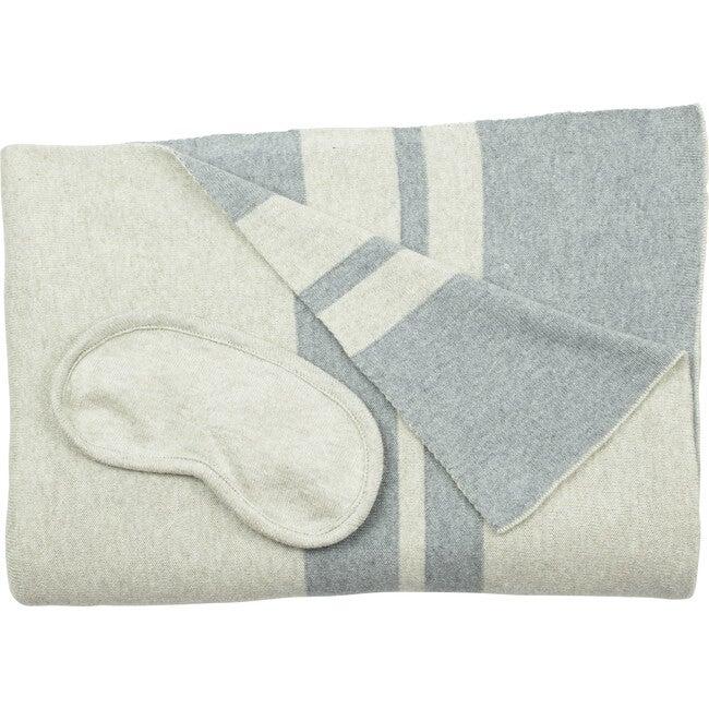 Cotton Travel Blanket Set, Cream/Blue