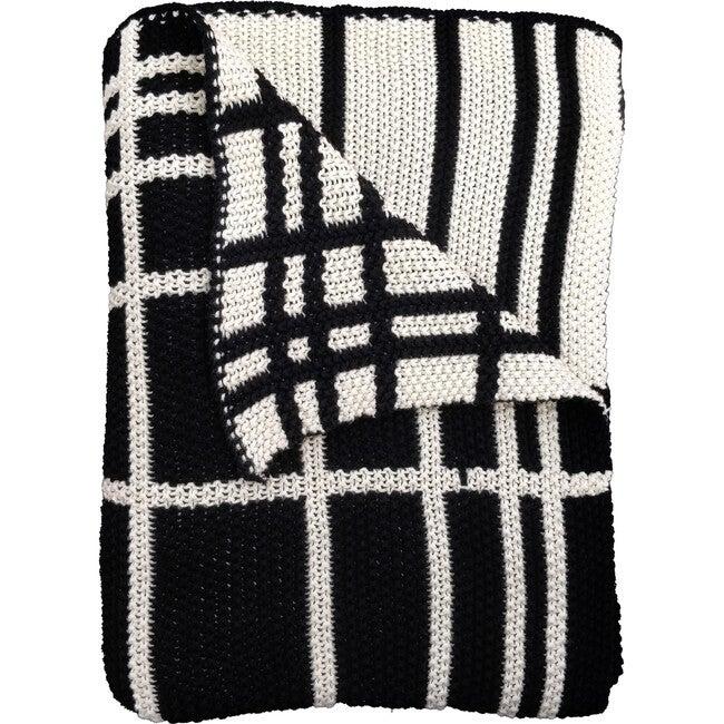 Grid Reversible Blanket, Black/Natural