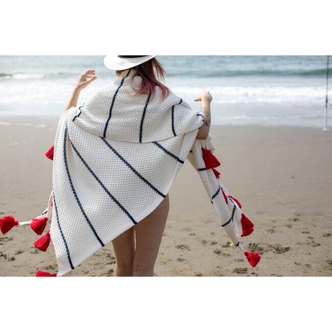 Dazzle Tassle Blanket, Cream/Red