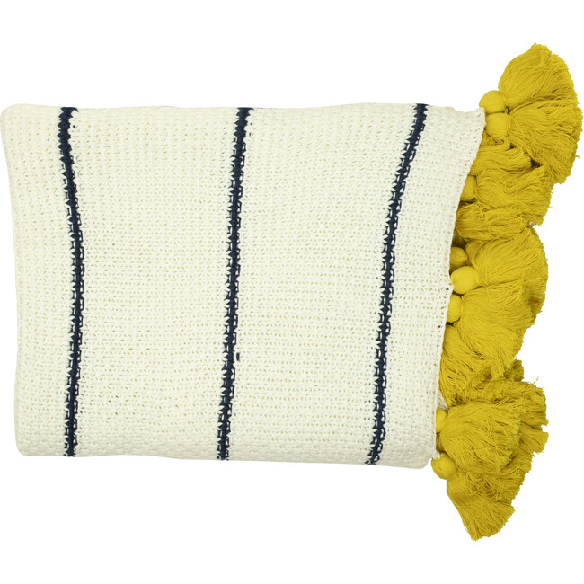 Dazzle Tassle Blanket, Cream/Yellow