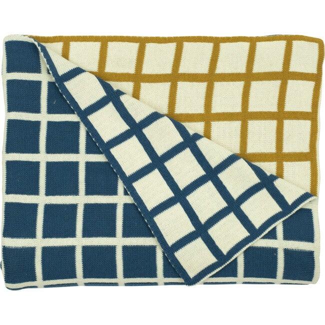 Sveda Reversible Squares Throw, Mustard/Blue