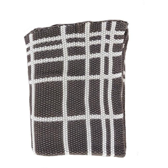 Grid Reversible Blanket, Dark Brown/Natural