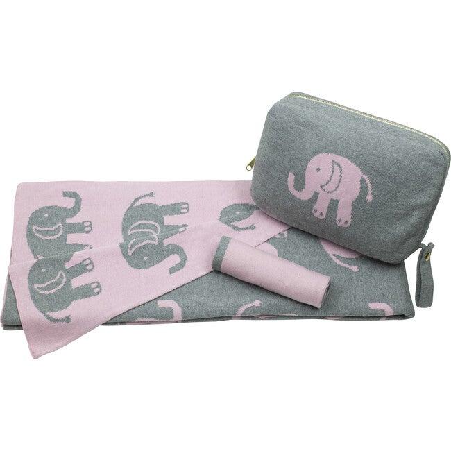 Elephant Love Baby Blanket Set, Pink/Grey
