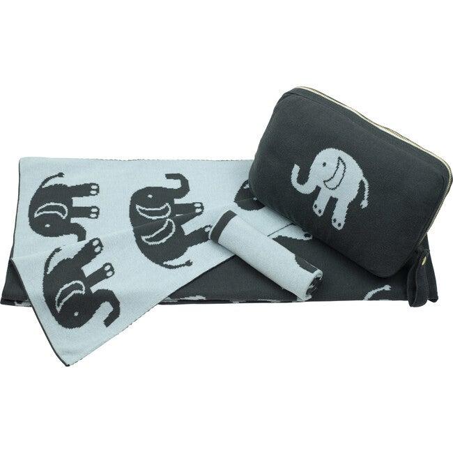Elephant Love Baby Blanket Set, Blue/Grey