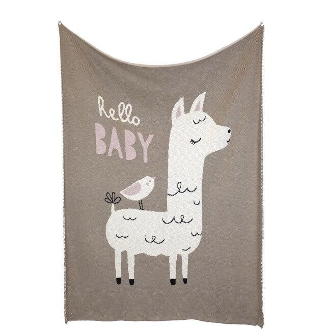Hello Lama Blanket, Brown/Pink