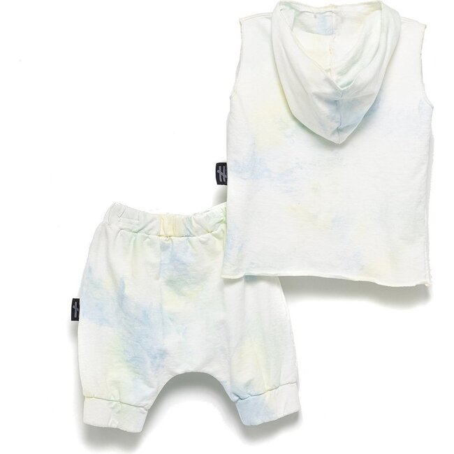 Tie-Dye Hooded Outfit, White