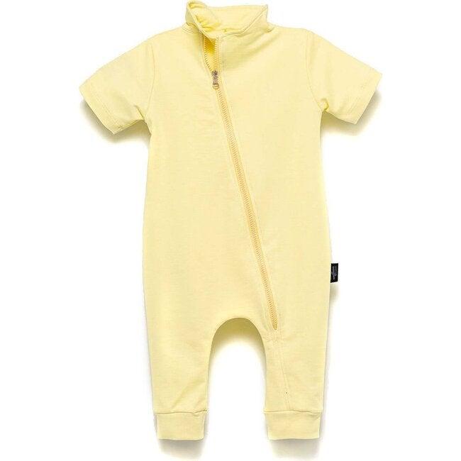 Diagonal Zip Bodysuit, Yellow