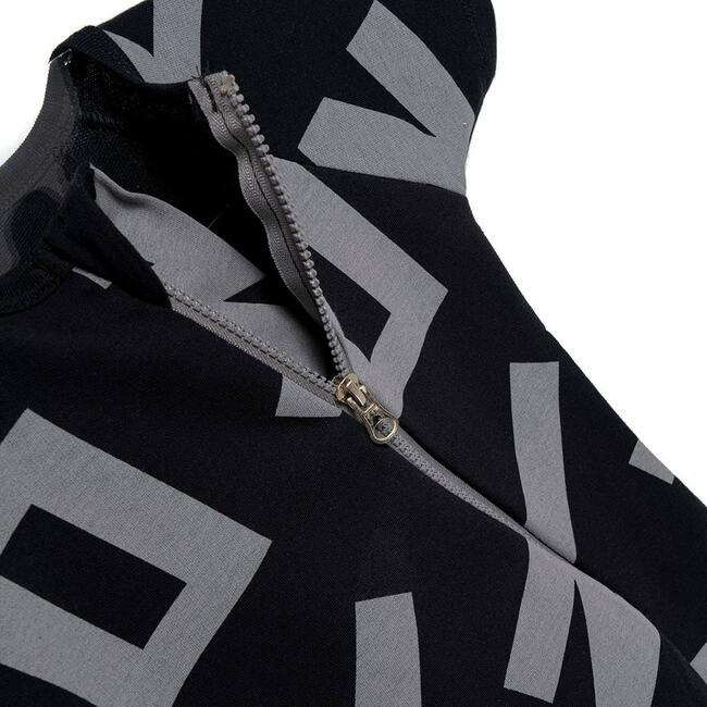 Alphabet Diagonal Zip Bodysuit, Black