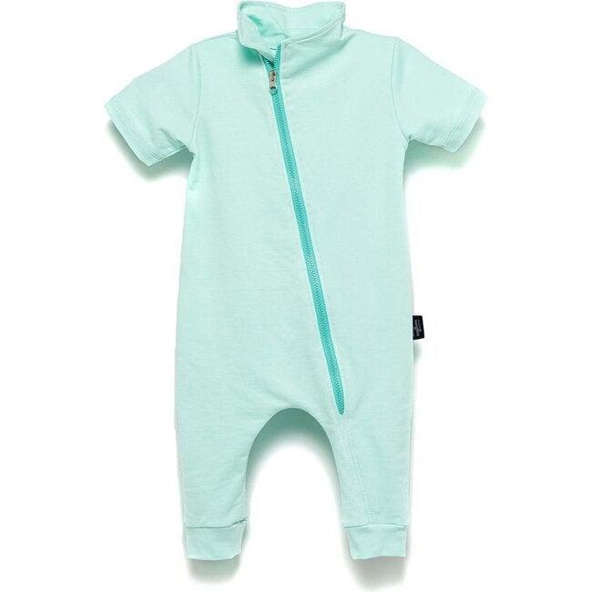 Diagonal Zip Bodysuit, Mint