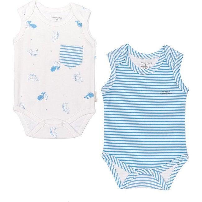 2 Piece Cute Whale Bodysuit Set, Blue